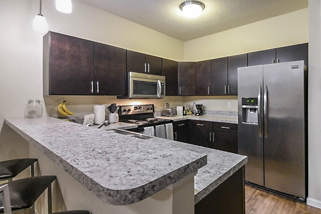 kitchen island - LynCourt Square is the 2020 Student Property of the Year. Spacious, modern living for UF students! Apartments
