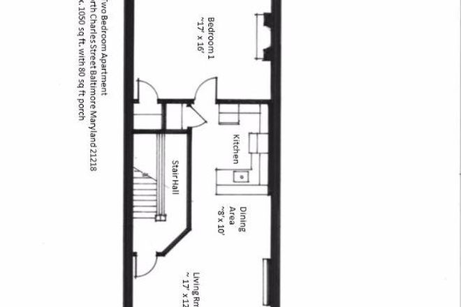 Typical Two Bedroom Unit Floorplan - 2935 North Charles Street _ Unit 2 Apartments