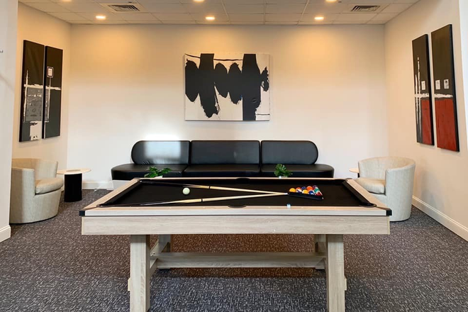 Midtown Lounge Pool Table - HH Midtown - Luxury Student Apartments Steps Away from UB and JHU!