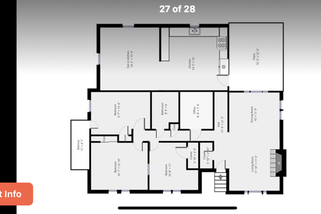 Floor Plan - BENTLEY STUDENTS. Immaculate/spacious 5 bedroom 2 bath single family home! Rental