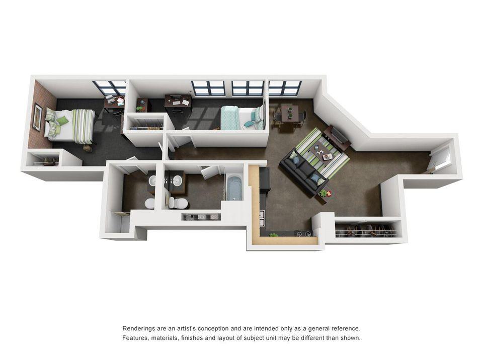 Zoom Image 2 Bedroom Bathroom Floor Plan