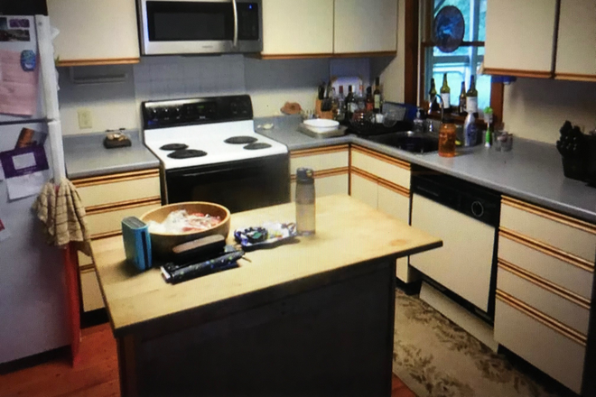 Kitchen, with island counter - One Bedroom Apartment Includes All Utilities