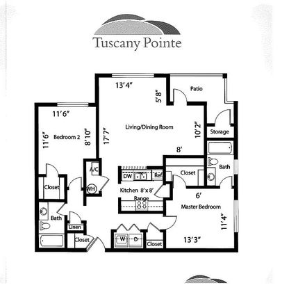 1290 sqft - Monico - Split Floor Plan.  Great for room mates!