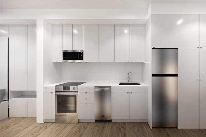 Interior Rendering of Kitchen - 26 Spring Street Apartments