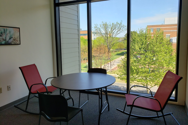 Our study space has a fantastic view! - Global Friendship House, Furnished, next to Campus. Single or Shared Bedrooms, Efficiencies Rental