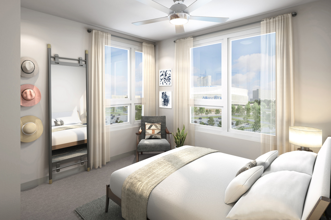 Bedroom - Pivot Midway Apartments: convenient to bus and train!
