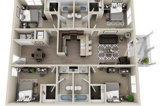 Four-bedroom layout