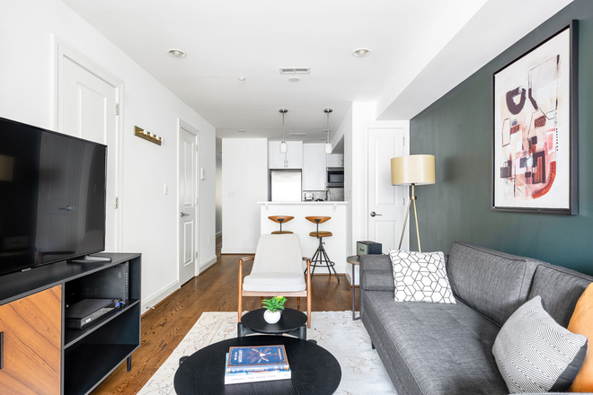 Living Room - Furnished Mod Dupont Circle 2BR w/ W/D Apartments