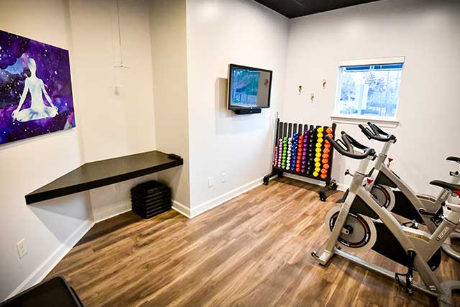 Cycle and yoga room