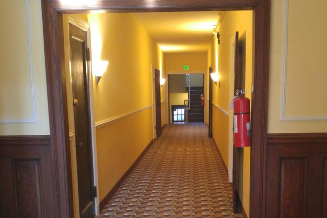 Hallway - Guilford Hall, handsome 1920 Art Deco building in historic Okenshawe neighborhood. Apartments