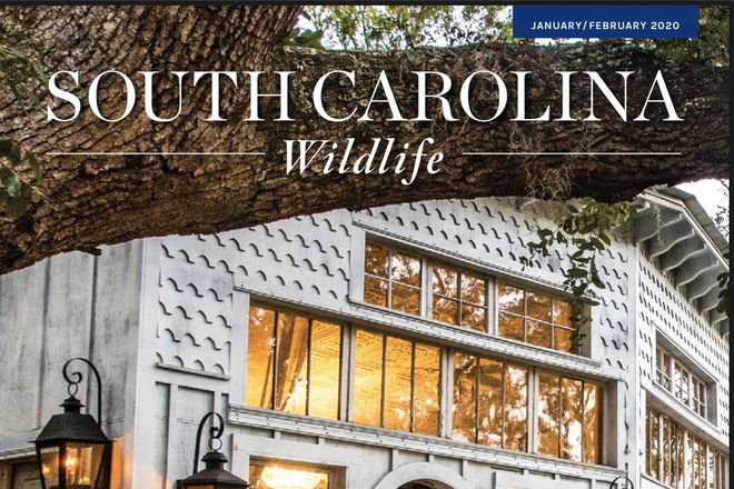 Featured on the cover of SC Wildlife - Luxury Treehouses on 30-acre Waterfront Nature Retreat Rental