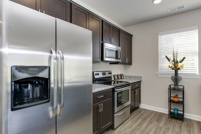 Kitchen with stainless steel appliances - North Colley Apartments