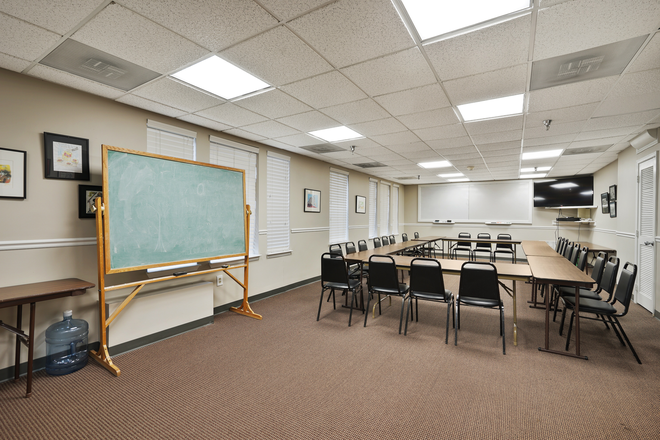 Our classroom is a perfect space for group projects or hanging out. We will often host events so that our residents have the opportunity to interact with each other.