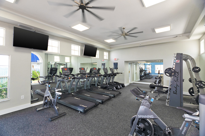 Fitness Center with treadmills, free weight equipment, and Spinning equipment