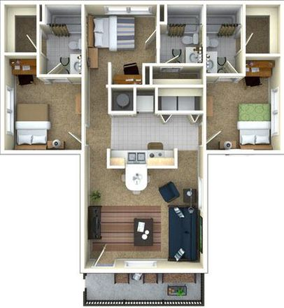 Our 3/3 Floor Plan