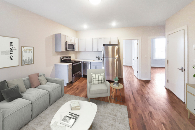 Kitchen/Living - 4300 Chestnut Street: Renovated 1, 2, and 3 Bedroom Apartments Close to Campus. Laundry in Unit!