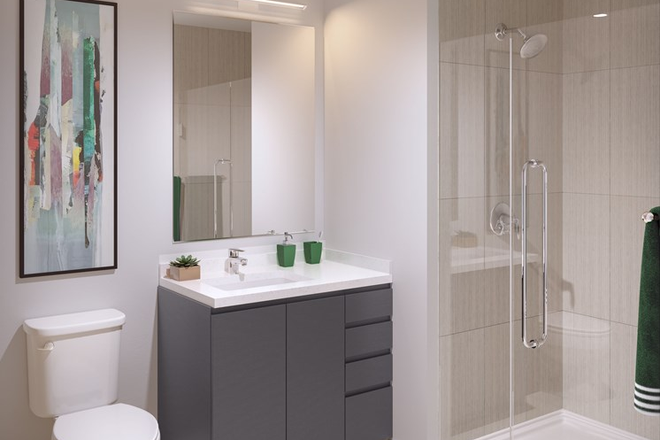 Modern Bathroom w/ Glass Door Enclosure - The Abbot - Limited Availability For Fall 2020 - Apply Today! Apartments