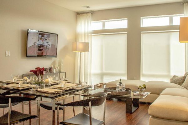 Our modern apartments offer floor to ceiling windows, barn doors, and ample living space.