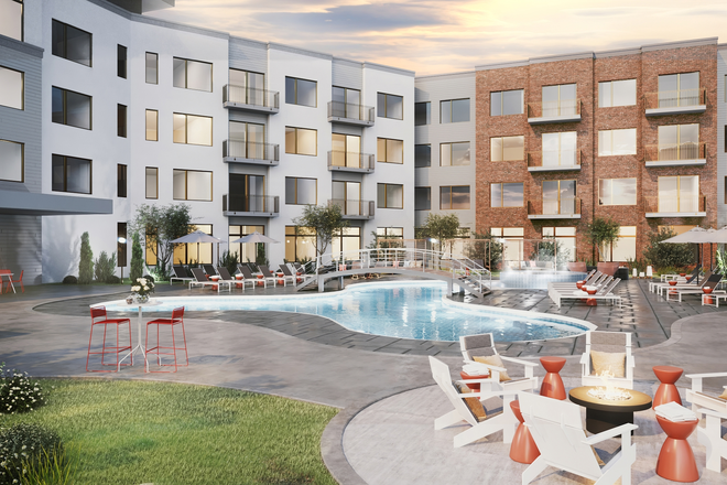 Pool Area - Spur at Iliff Station Apartments