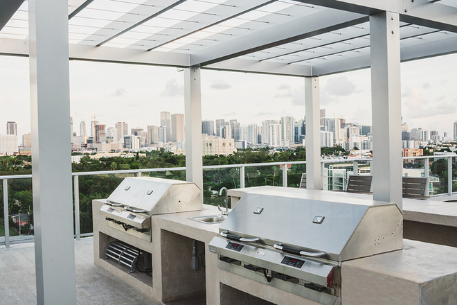 BBQs and social spaces with Miami skyline views