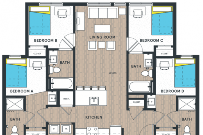D4 plan layout. Offering bedroom B. - Altus Apartment D4 bedroom B fully furnished with private bathroom.
