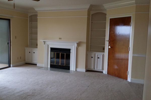 Wood burning fireplace with bookshelves and crown molding