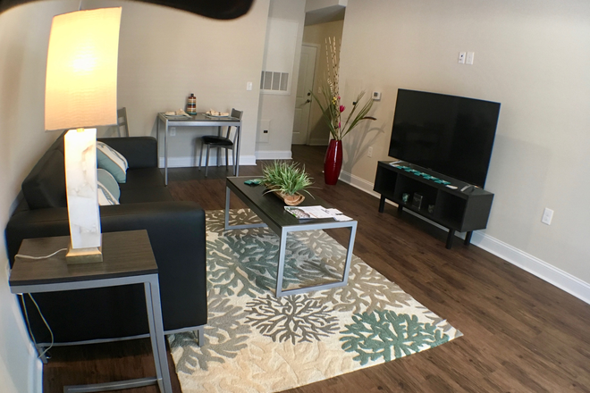Living room-furnished w/tv - Seahawk Cove - Now Leasing for Fall 2020 Apartments