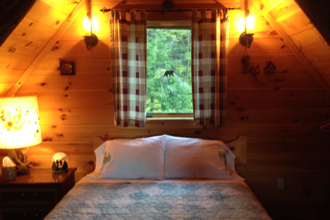 Climb spiral staircase to the bedroom. - Private log cabin on 11 acres 1 mile to VLS Rental