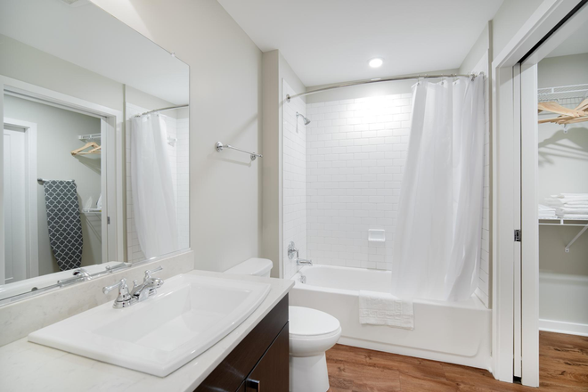 Bathroom - Furnished Luv Mount Vernon 1BR w/ Gym, Rooftop, W/D, by Metro Apartments