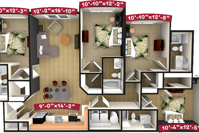 4 Bedroom/4 Bath Floor Plan