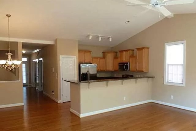 Kitchen View from Living Room - Carleton Place Townhome.  Property connects to UNCW Campus!  Use of Pool Included!