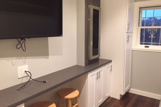 TV, wall heater,  study area, closet