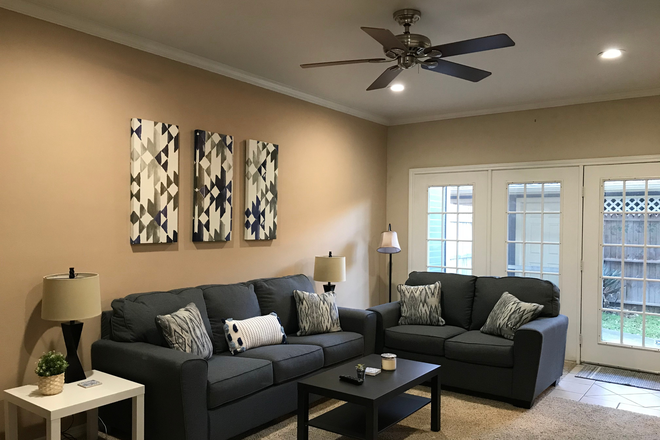 Living Room with Sofa, Loveseat,& Tables - Furnished Women's Townhouse in Quiet Park Setting - 2 Bedrooms Available, near Discovery Park & TWU