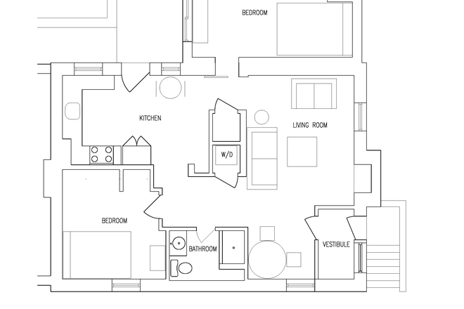 Apartmetn Floor Plan - Sunny and Modern Apartment Close to AU Campus with 2 Bedrooms & 1 Bath