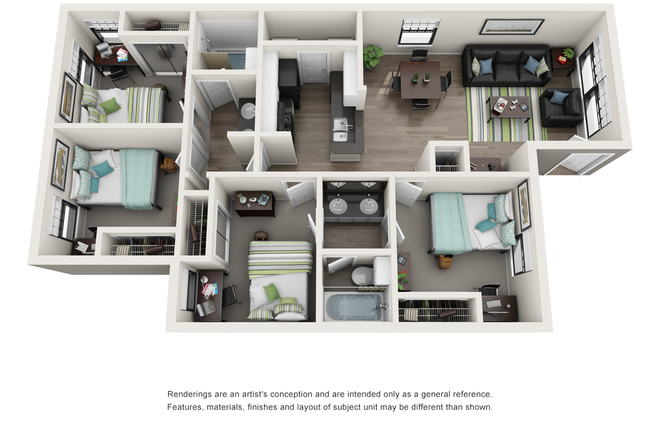 Virtual Floorplan for 4x2 Unit