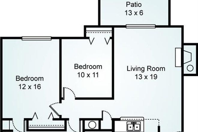 2 bedroom x 1.5 bath