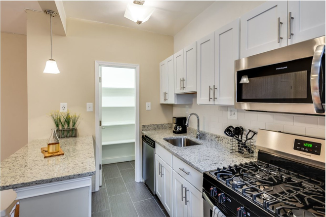 Renovated Kitchen with Stainless Steel Appliances and Granite Countertops