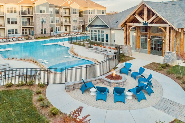 Outdoor fire pit and swimming pool