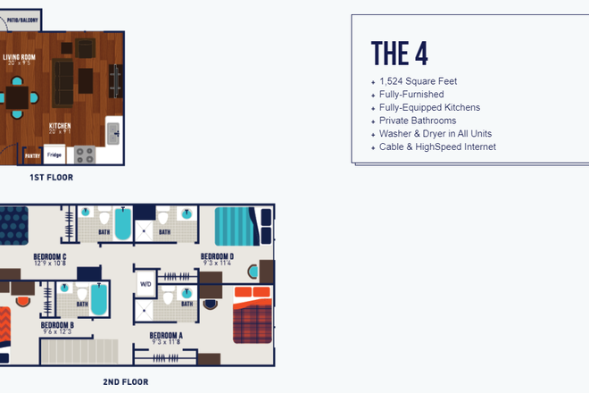 Layout of apartment - Sublet for spacious bedroom at The Wyatt (close to campus!) Apartments