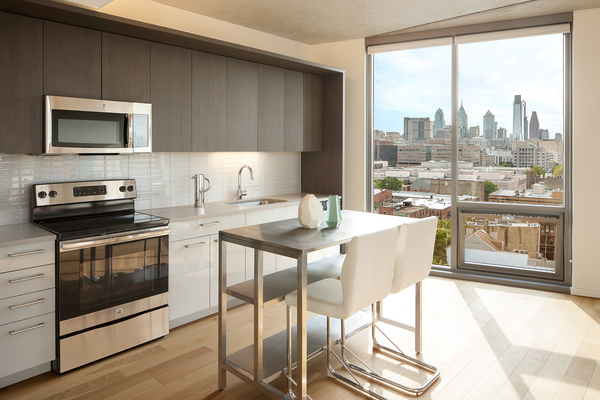 Kitchen with Island and Skyline View