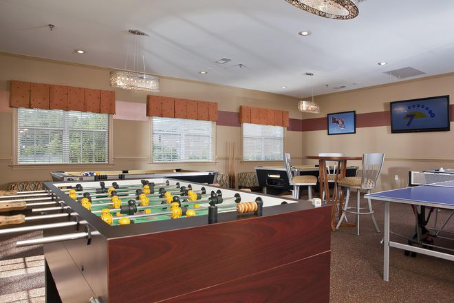 Newly renovated gameroom with pool tables, airhockey and foosball