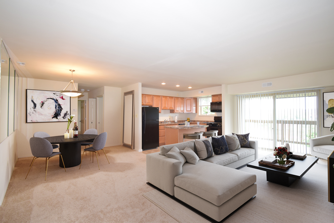 Open Concept living room/kitchen. - Fellowship Court Apartments