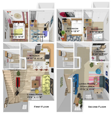 Floor plan features two living rooms, great storage with a deep storage closet under the stairs, pantry, linen closet and extra shelving in the laundry room. All bedrooms are in the quiet back of the home