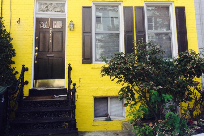 Street view of 3502 T Street - $4,100/Mo Furnished Burleith Townhouse with Granite/Stainless Kitchen, Central Air, and Updated Bath